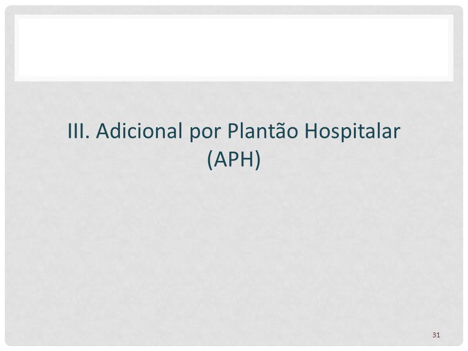 III. Adicional por Plantão Hospitalar (APH)