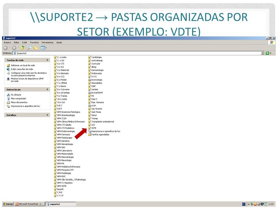 \\suporte2 → Pastas organizadas por setor (Exemplo: VDTE)