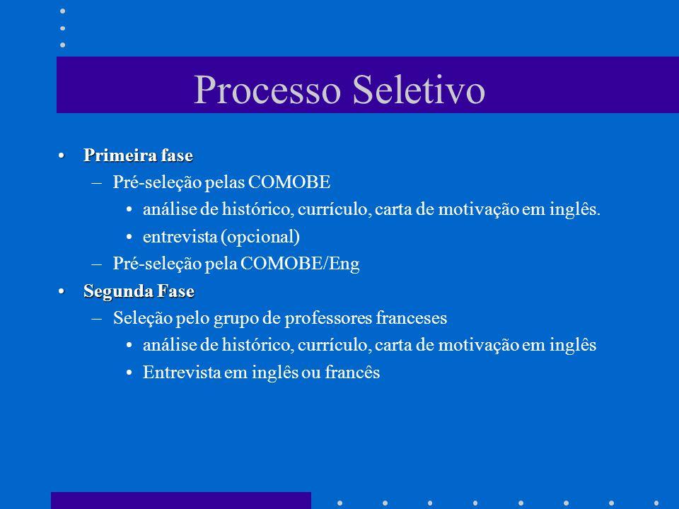 Processo Seletivo Primeira fase Pré-seleção pelas COMOBE