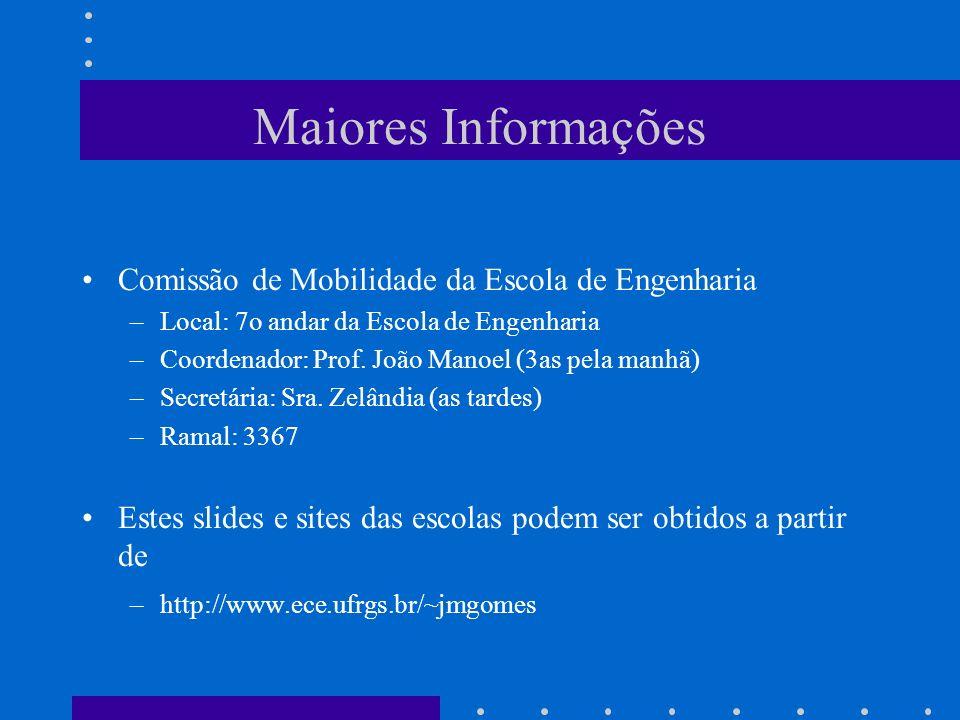 Maiores Informações Comissão de Mobilidade da Escola de Engenharia