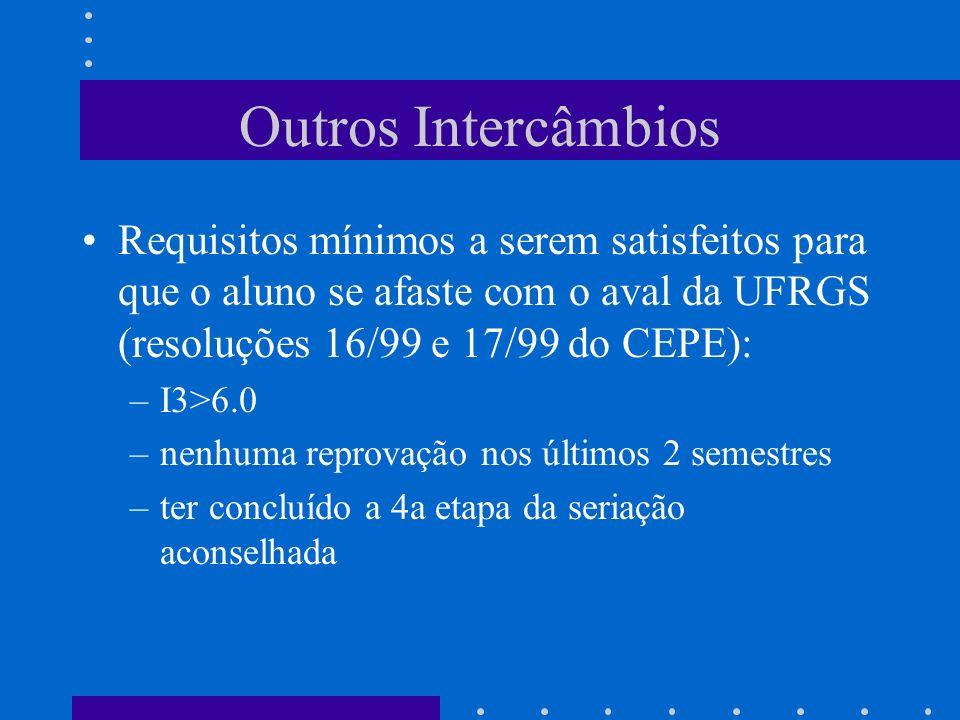 Outros Intercâmbios Requisitos mínimos a serem satisfeitos para que o aluno se afaste com o aval da UFRGS (resoluções 16/99 e 17/99 do CEPE):