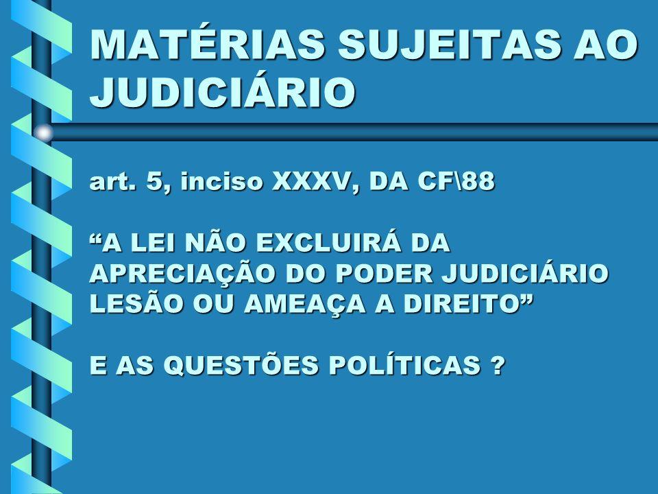 MATÉRIAS SUJEITAS AO JUDICIÁRIO art