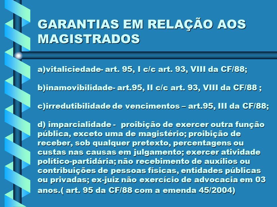 GARANTIAS EM RELAÇÃO AOS MAGISTRADOS a)vitaliciedade- art