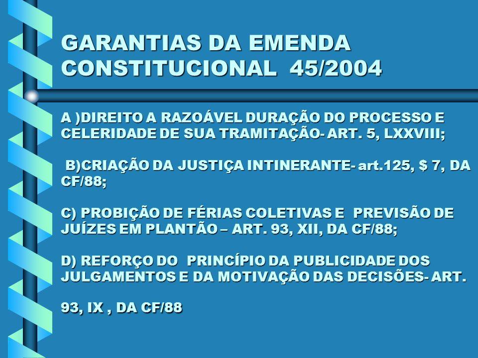 GARANTIAS DA EMENDA CONSTITUCIONAL 45/2004 A )DIREITO A RAZOÁVEL DURAÇÃO DO PROCESSO E CELERIDADE DE SUA TRAMITAÇÃO- ART.