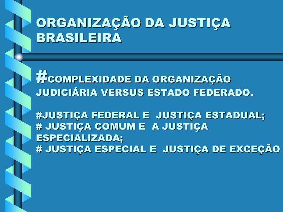 ORGANIZAÇÃO DA JUSTIÇA BRASILEIRA #COMPLEXIDADE DA ORGANIZAÇÃO JUDICIÁRIA VERSUS ESTADO FEDERADO.