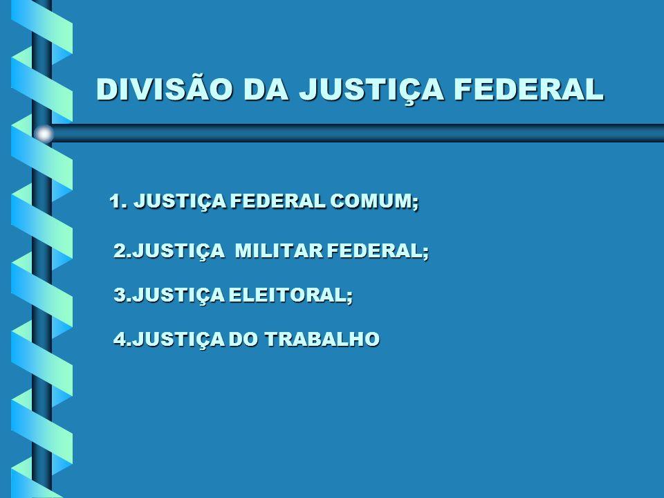 DIVISÃO DA JUSTIÇA FEDERAL 1. JUSTIÇA FEDERAL COMUM; 2