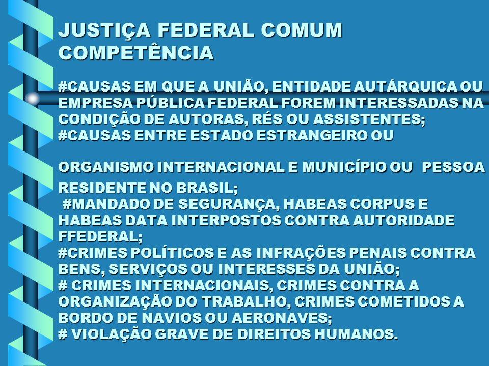 JUSTIÇA FEDERAL COMUM COMPETÊNCIA #CAUSAS EM QUE A UNIÃO, ENTIDADE AUTÁRQUICA OU EMPRESA PÚBLICA FEDERAL FOREM INTERESSADAS NA CONDIÇÃO DE AUTORAS, RÉS OU ASSISTENTES; #CAUSAS ENTRE ESTADO ESTRANGEIRO OU ORGANISMO INTERNACIONAL E MUNICÍPIO OU PESSOA RESIDENTE NO BRASIL; #MANDADO DE SEGURANÇA, HABEAS CORPUS E HABEAS DATA INTERPOSTOS CONTRA AUTORIDADE FFEDERAL; #CRIMES POLÍTICOS E AS INFRAÇÕES PENAIS CONTRA BENS, SERVIÇOS OU INTERESSES DA UNIÃO; # CRIMES INTERNACIONAIS, CRIMES CONTRA A ORGANIZAÇÃO DO TRABALHO, CRIMES COMETIDOS A BORDO DE NAVIOS OU AERONAVES; # VIOLAÇÃO GRAVE DE DIREITOS HUMANOS.