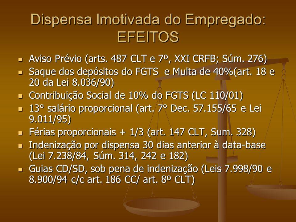Dispensa Imotivada do Empregado: EFEITOS