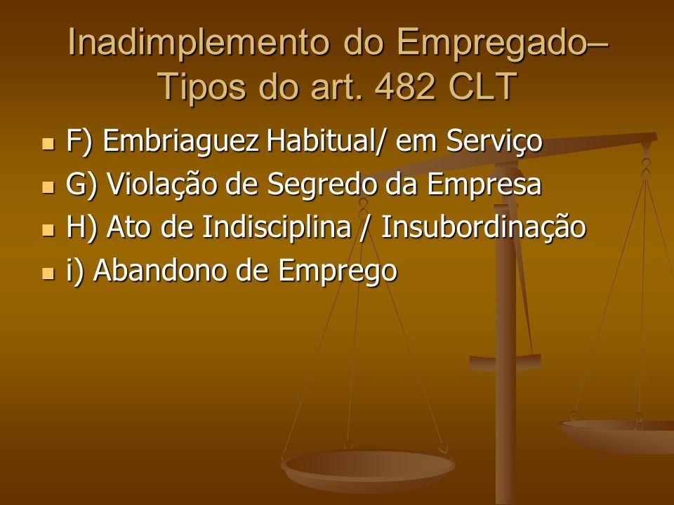 Inadimplemento do Empregado– Tipos do art. 482 CLT