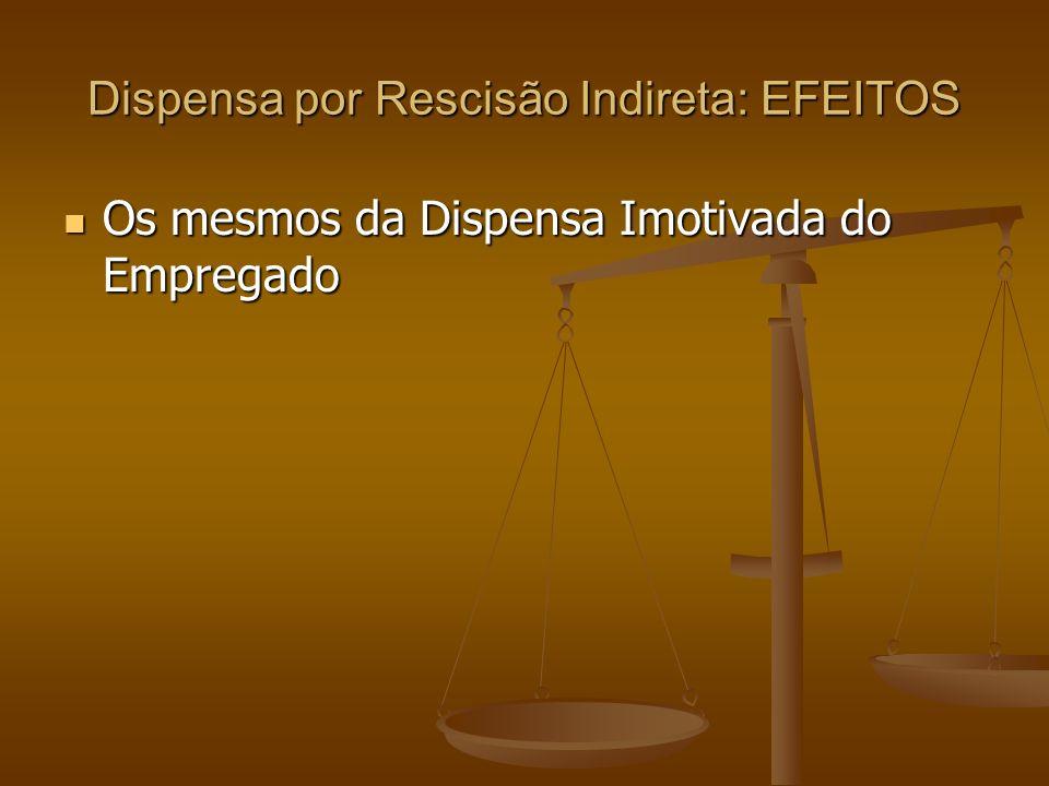 Dispensa por Rescisão Indireta: EFEITOS
