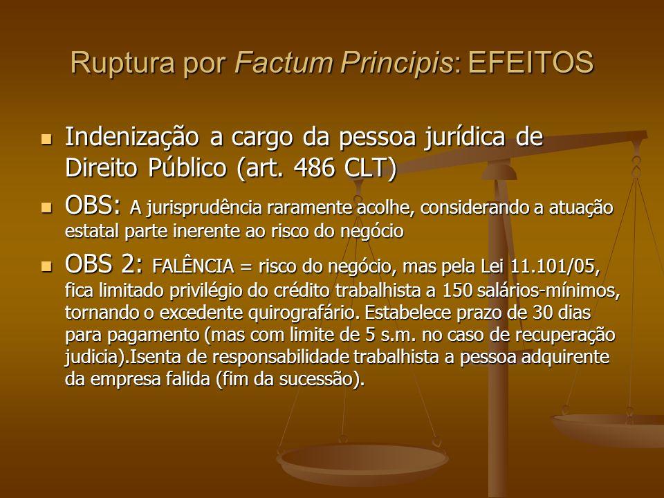 Ruptura por Factum Principis: EFEITOS