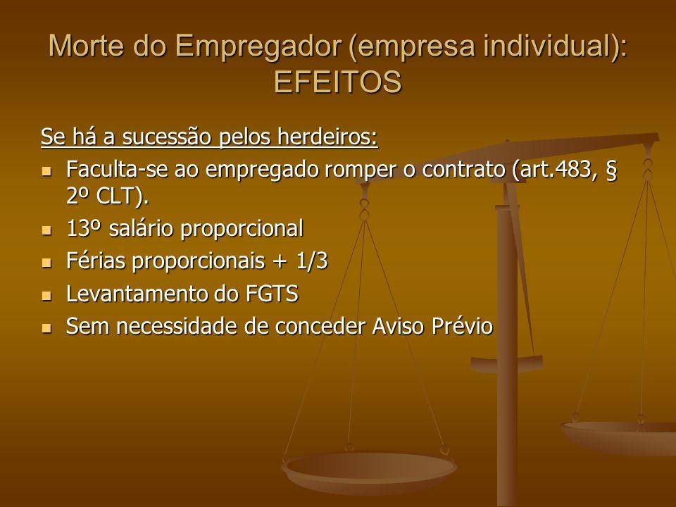 Morte do Empregador (empresa individual): EFEITOS