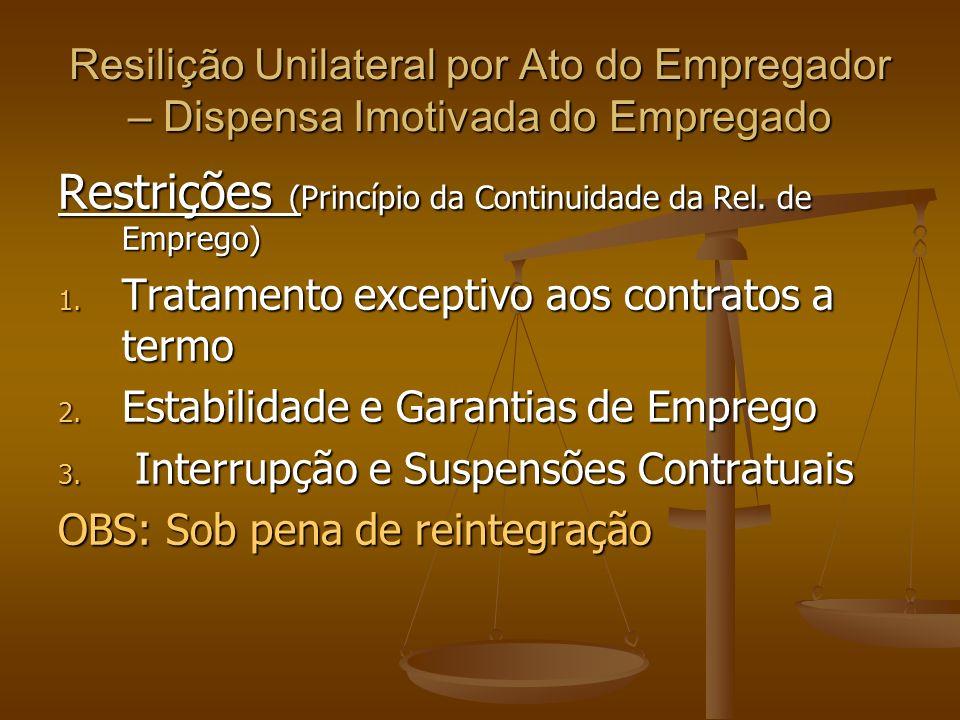 Restrições (Princípio da Continuidade da Rel. de Emprego)