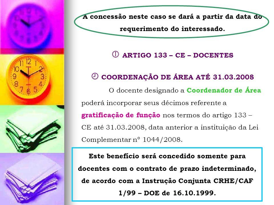  COORDENAÇÃO DE ÁREA ATÉ 31.03.2008