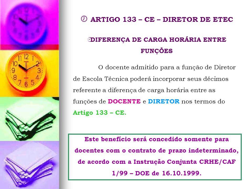 ARTIGO 133 – CE – DIRETOR DE ETEC