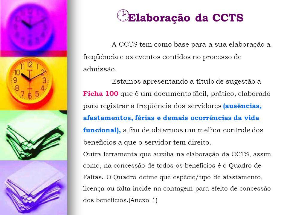 Elaboração da CCTS A CCTS tem como base para a sua elaboração a freqüência e os eventos contidos no processo de admissão.