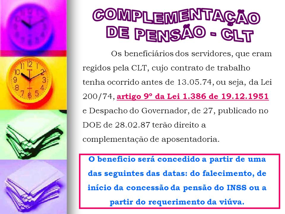 COMPLEMENTAÇÃO DE PENSÃO - CLT