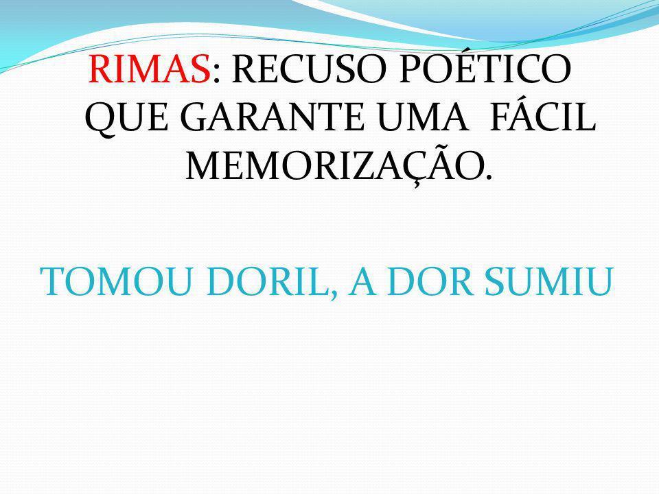 RIMAS: RECUSO POÉTICO QUE GARANTE UMA FÁCIL MEMORIZAÇÃO