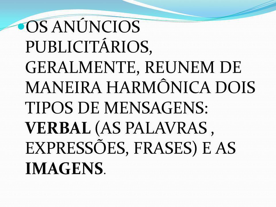 OS ANÚNCIOS PUBLICITÁRIOS, GERALMENTE, REUNEM DE MANEIRA HARMÔNICA DOIS TIPOS DE MENSAGENS: VERBAL (AS PALAVRAS , EXPRESSÕES, FRASES) E AS IMAGENS.