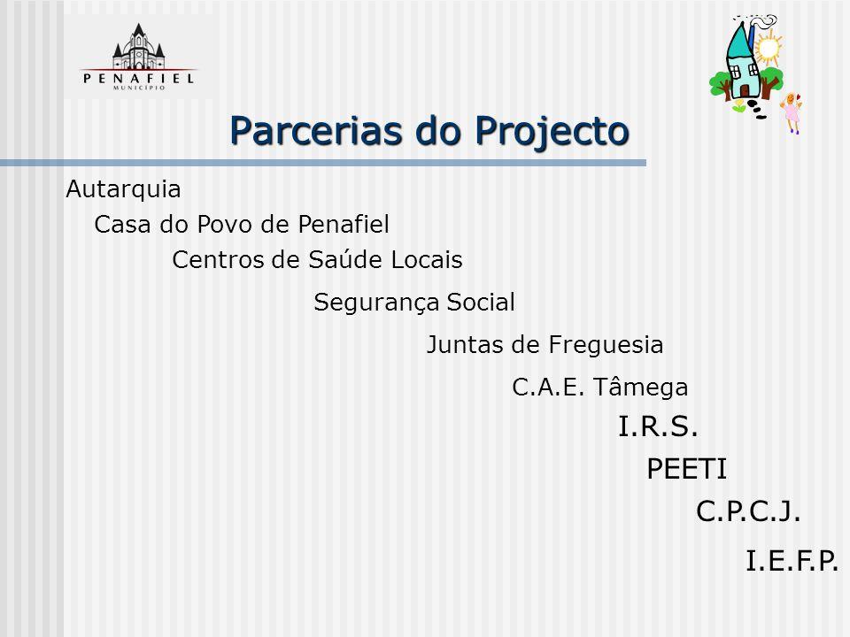 Parcerias do Projecto I.R.S. PEETI C.P.C.J. I.E.F.P. Autarquia