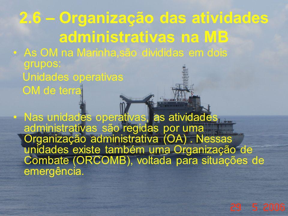 2.6 – Organização das atividades administrativas na MB