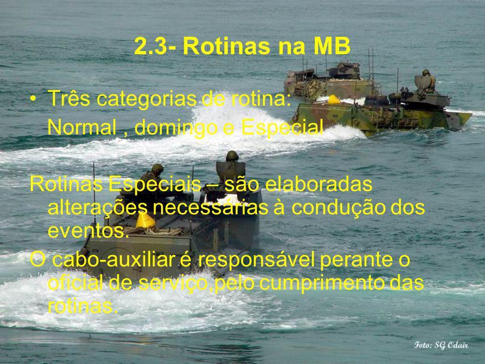 2.3- Rotinas na MB Três categorias de rotina: