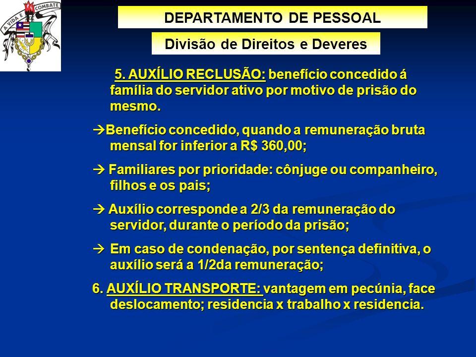 DEPARTAMENTO DE PESSOAL Divisão de Direitos e Deveres