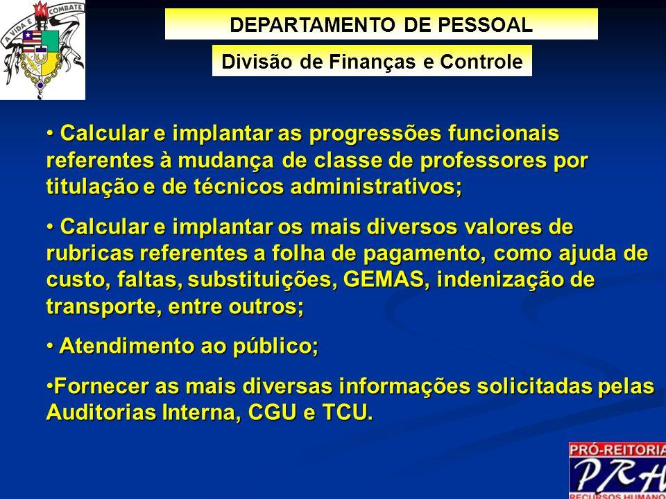 DEPARTAMENTO DE PESSOAL Divisão de Finanças e Controle