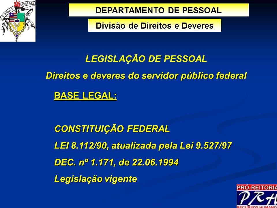LEGISLAÇÃO DE PESSOAL Direitos e deveres do servidor público federal