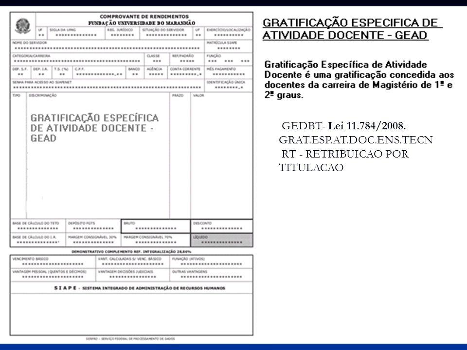 GEDBT- Lei 11.784/2008. GRAT.ESP.AT.DOC.ENS.TECN