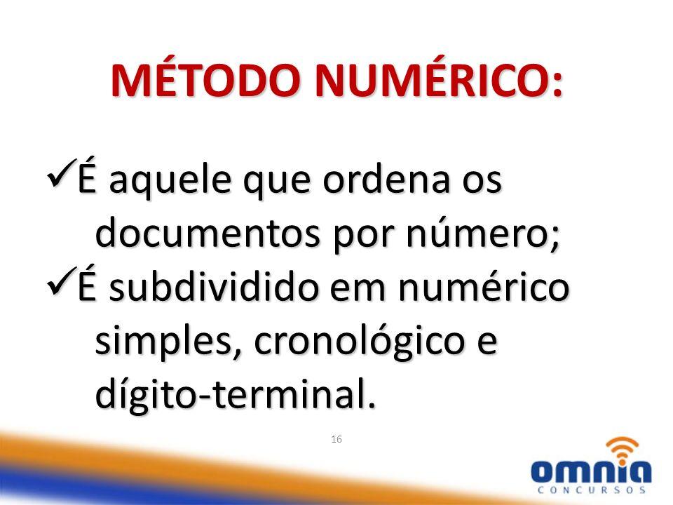 MÉTODO NUMÉRICO: É aquele que ordena os documentos por número;
