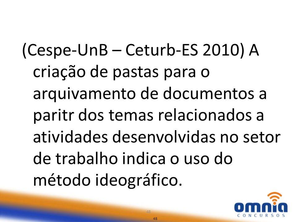 (Cespe-UnB – Ceturb-ES 2010) A criação de pastas para o arquivamento de documentos a paritr dos temas relacionados a atividades desenvolvidas no setor de trabalho indica o uso do método ideográfico.