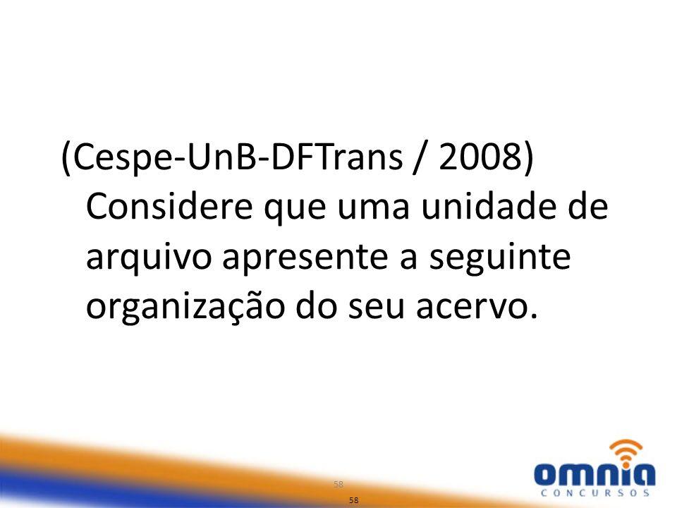 (Cespe-UnB-DFTrans / 2008) Considere que uma unidade de arquivo apresente a seguinte organização do seu acervo.