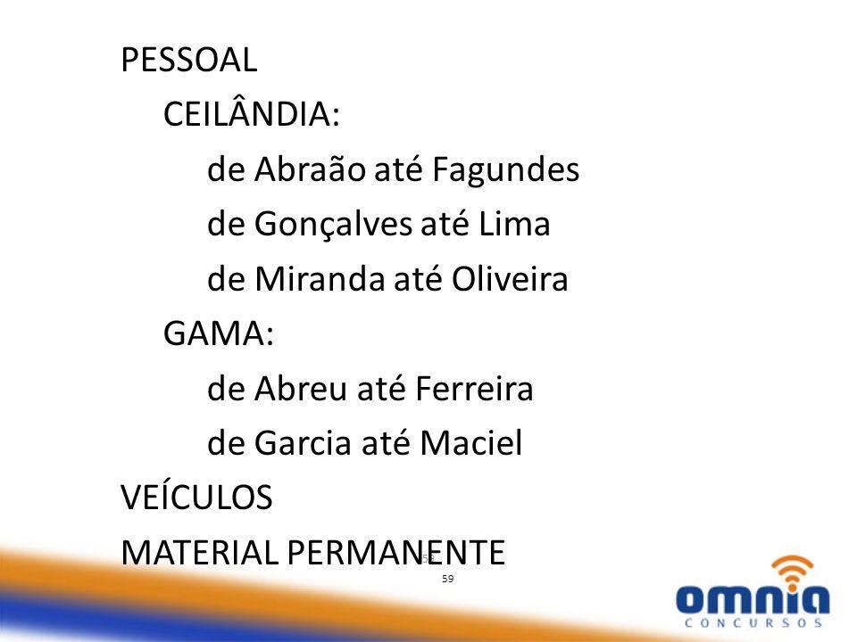 de Miranda até Oliveira GAMA: de Abreu até Ferreira