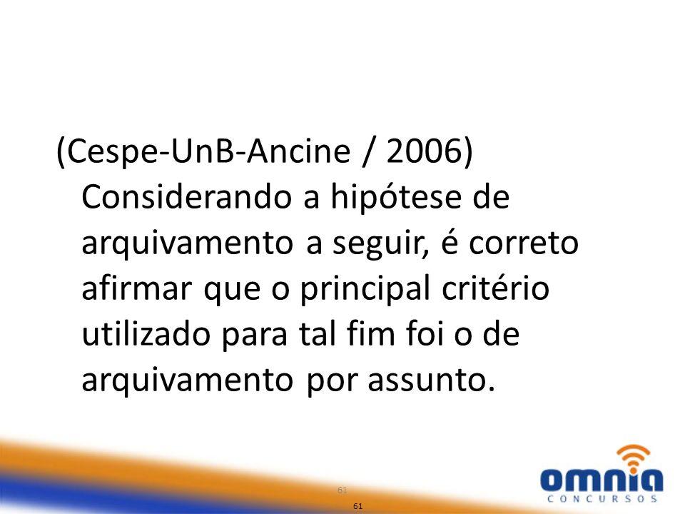 (Cespe-UnB-Ancine / 2006) Considerando a hipótese de arquivamento a seguir, é correto afirmar que o principal critério utilizado para tal fim foi o de arquivamento por assunto.