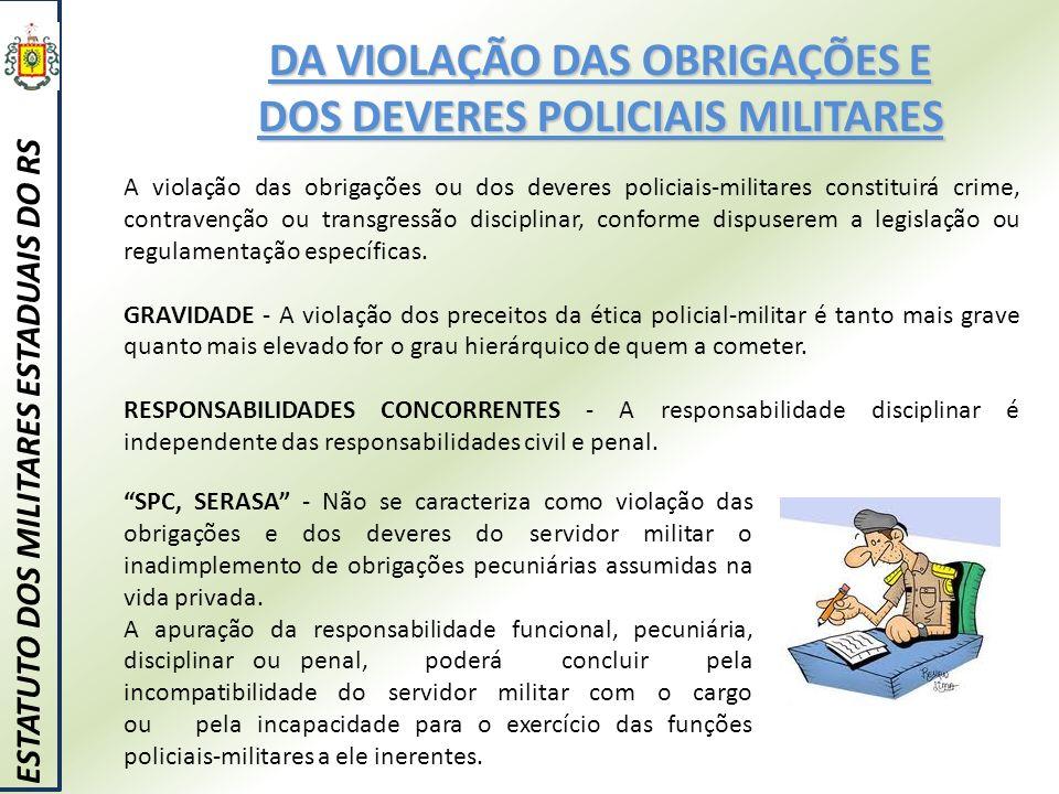 DA VIOLAÇÃO DAS OBRIGAÇÕES E DOS DEVERES POLICIAIS MILITARES