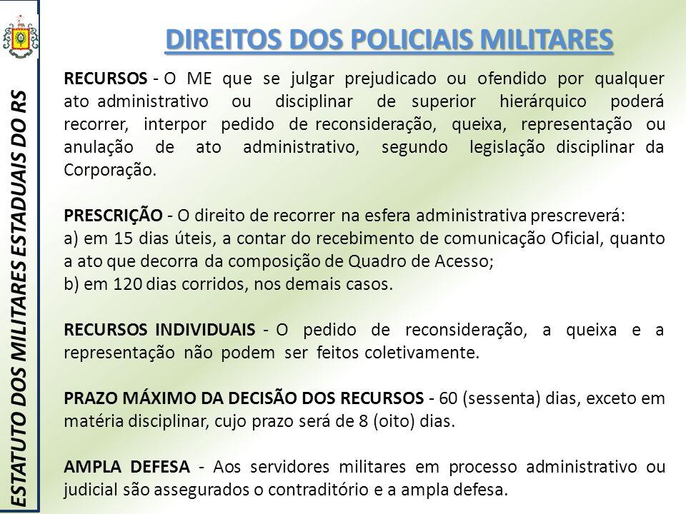 DIREITOS DOS POLICIAIS MILITARES