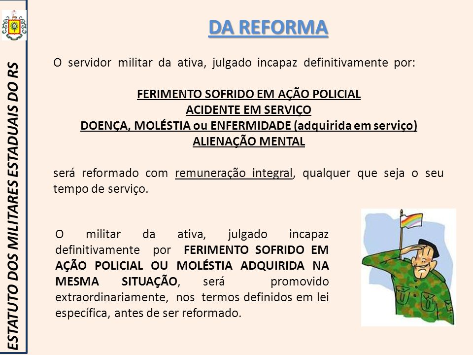 DA REFORMA ESTATUTO DOS MILITARES ESTADUAIS DO RS
