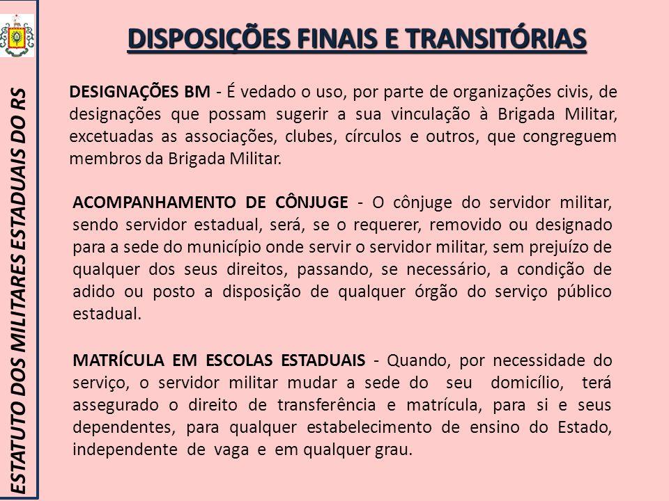 DISPOSIÇÕES FINAIS E TRANSITÓRIAS