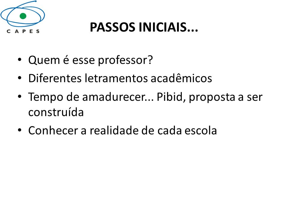 PASSOS INICIAIS... Quem é esse professor