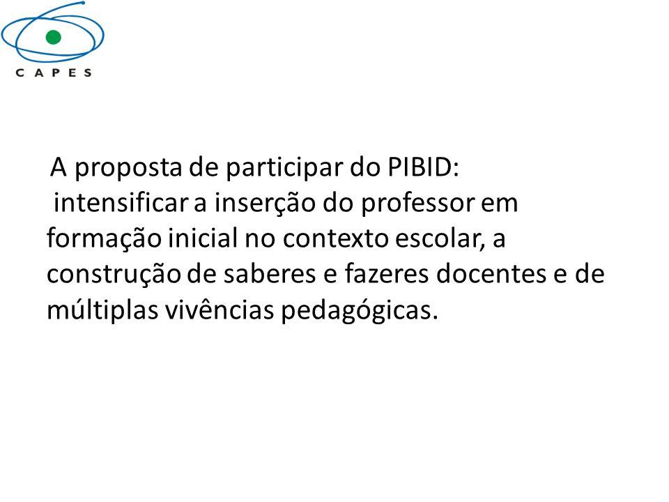 A proposta de participar do PIBID: