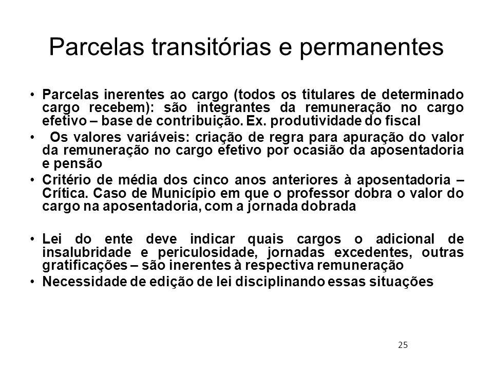 Parcelas transitórias e permanentes
