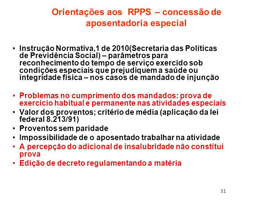 Orientações aos RPPS – concessão de aposentadoria especial