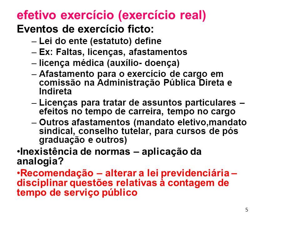 efetivo exercício (exercício real)