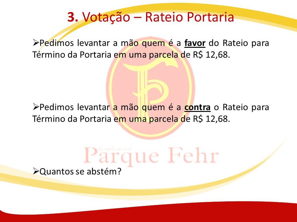 3. Votação – Rateio Portaria