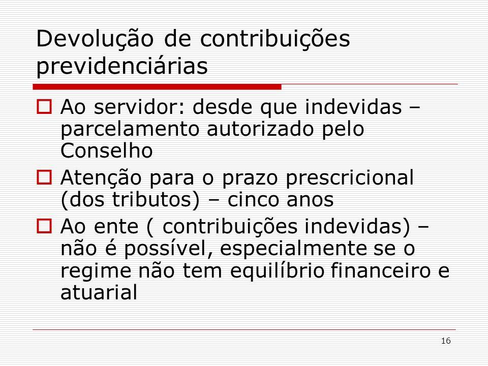 Devolução de contribuições previdenciárias