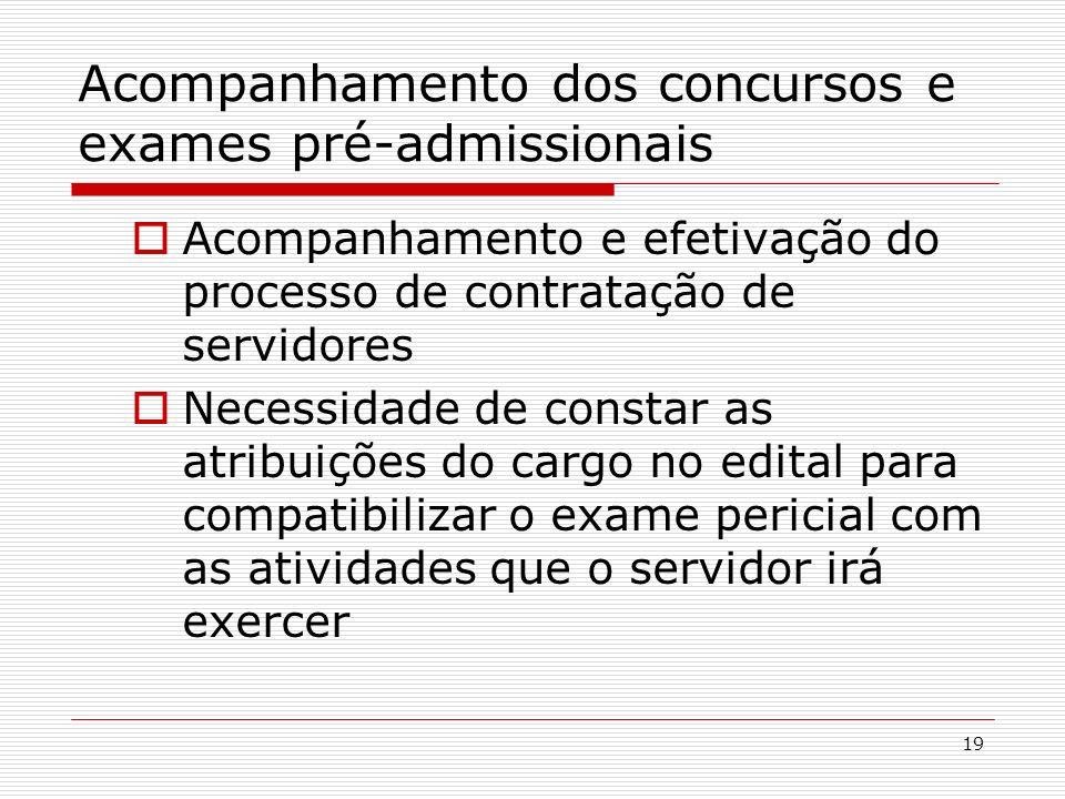 Acompanhamento dos concursos e exames pré-admissionais