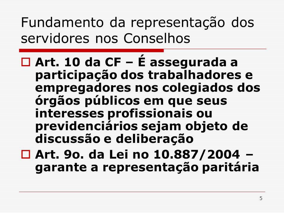 Fundamento da representação dos servidores nos Conselhos
