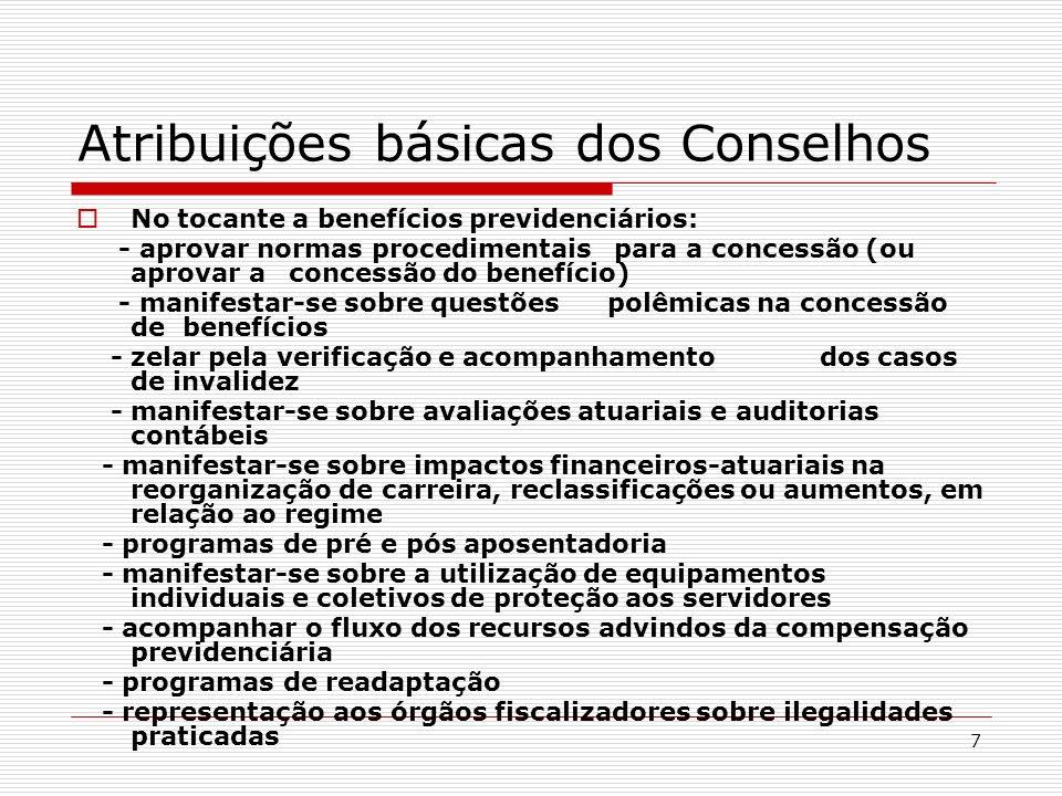 Atribuições básicas dos Conselhos