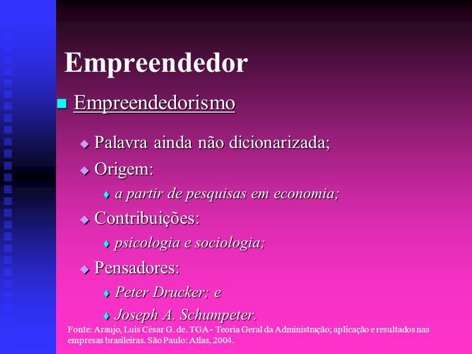 Empreendedor Empreendedorismo Palavra ainda não dicionarizada; Origem:
